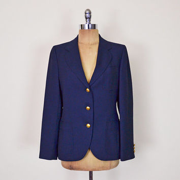 Vintage 80s Navy Blue Blazer Jacket Gold Crest Blazer School Boy Blazer Military Blazer Nautical Blazer Skinny Boyfriend Blazer S Small