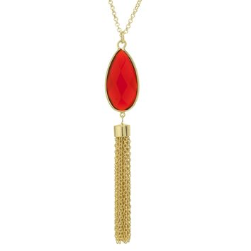 """Gold Plated 30"""" Long Tassel Necklace With Red Faceted Glass Teardrop"""