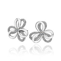 18K White Gold Plated Crystal and White Enamel Double Layered Flower Stud Earrings