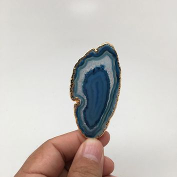 87 cts Blue Agate Druzy Slice Geode Pendant Gold Plated From Brazil, Bp1040