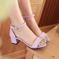 Summer Open Toe Buckle Strap Shoes