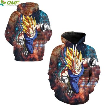 Vegeta Super Saiyan 2 Digital Print Skateboarding Hoodies Winter Autumn Sweatshirts Dragon Ball Z Hooded Hoody Streetwear Male