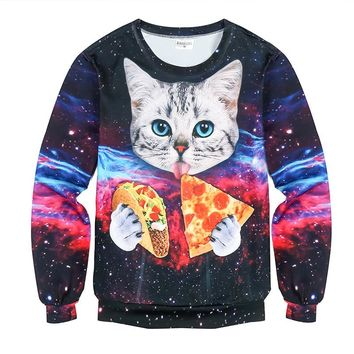 Cat Eat Pizza Galaxy Sweatshirts - Ugly Cat Sweater Sweatshirts