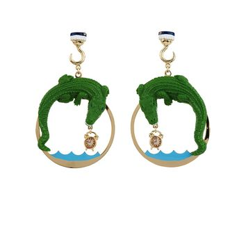 N2 by Les Néréides FLY WITH ME CROCODILE EARRINGS