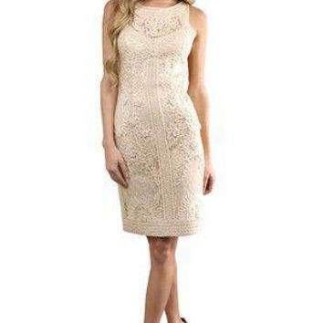 Sue Wong - Embroidered Bateau Neck Sheath Dress S9102