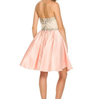 Peach Short Crystal Sweetheart Neckline Prom Dress