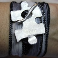 2 Little P's Autism Puzzle Piece Silk Wrap Bracelet