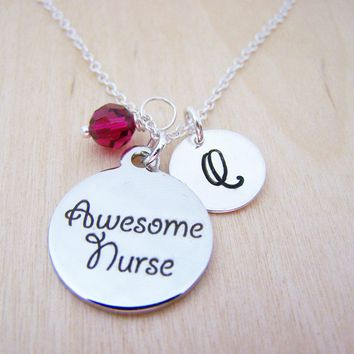 Awesome Nurse Charm Swarovski Birthstone Initial Personalized Sterling Silver Necklace / Gift for Her - Nurse Git - Nurse Necklace - RN