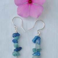 Blue bead earrings; blue agate earrings; stone earrings; blue dyed agate earrings; summer earrings; light blue earrings; sky blue earrings