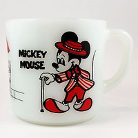 Mickey Minnie Mouse Coffee Mug Cup 8 oz Milk Glass Disney Anchor Hocking k378