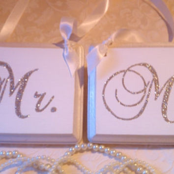 BLING Wedding Signs Mr. & Mrs. Wedding Chair Hangers Sparkle for your Elegant Wedding