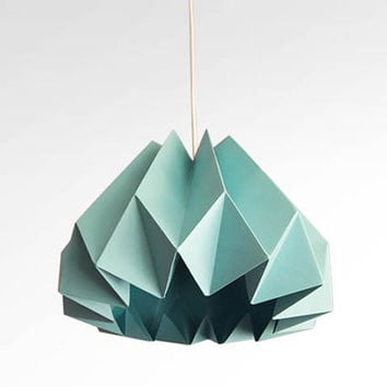 Pumpkin / Origami Paper Lamp Shade - Turquoise