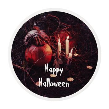 Rustic Halloween Pumpkin and Candles Edible Frosting Rounds