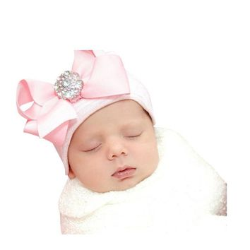 Free shipping pink top bowknot Baby crystal flower cap hats Girls Knotted Bow Head Wraps cap Kids bebe Hair Accessories BCCH1002