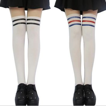 Princess sweet Lolita pantyhose Campus striped stem fake stockings tights female students hoses false splicing silk spank