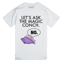 ask the conch-Unisex White T-Shirt