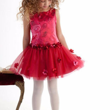 Biscotti Red Holiday Dress Rose Rhapsody