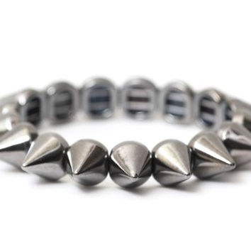 Spike Studs Stretch Bracelet Silver Tone Gunmetal BC06 Edgy Punk Charm Bangle Fashion Jewelry