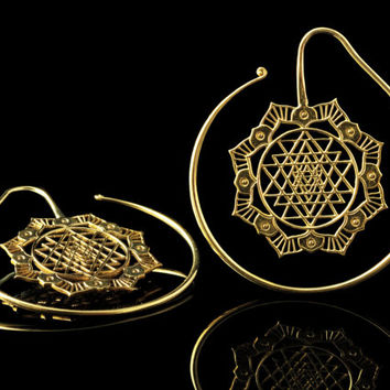 Mandala lotus earrings, sri yantra hoop ear spirals, tribal flower, 1.6mm 14g, brass gold, sacred geometry gauges tunnels plugs, ear weights