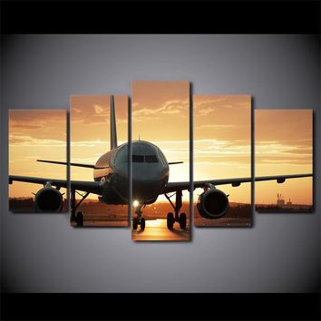 5 Pieces Golden Sunset Jet Airplane Aircraft Paintings HD Prints Airplane Canvas Picture Poster