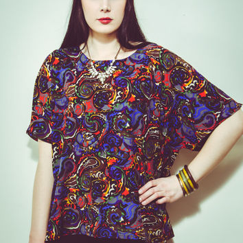 80s Multicolor Painters Paisley Patterned Short Sleeve Blouse