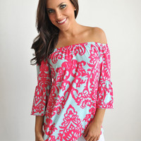 DAMASK OFF THE SHOULDER TUNIC
