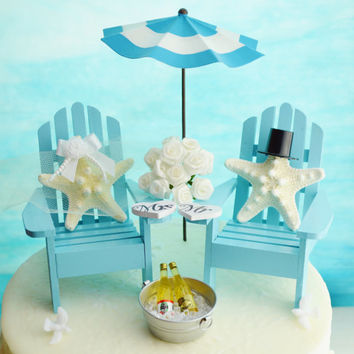 Wedding Cake Topper ~ Umbrella and Beer Bucket ~ Adirondack Chairs ~ Starfish Bride/Groom ~ Wedding Decor ~ Cake Topper ~ Light Blue Shown
