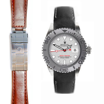Everest Curved End Leather Strap for Rolex Yacht-Master Deployant Buckle