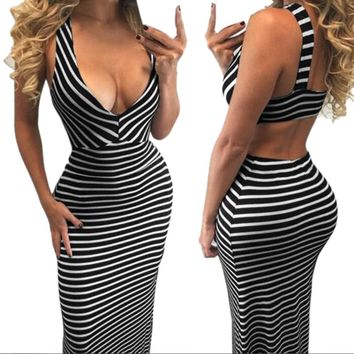 Sexy Backless Summer Dress Womens Stripe Deep V Neck Sleeveless High Waist Ankle-Length Black Long Maxi Dresses vestido