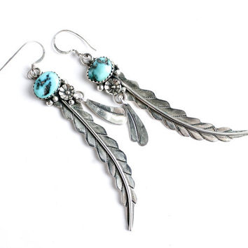 Vintage sterling silver turquoise feather from maejean vintage for Native american feather jewelry