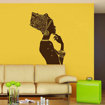 African woman wall decals Afro Wall Decal African Art Afro Wall Art African Decals Hairstyle Decals Afro Hair Art kik3325