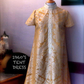 1960s Style Tent Dress with Placket/Vintage by RebeccaWFrockShop