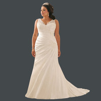 Princess Lace with Crystals V-neck Wedding Dress Plus Size