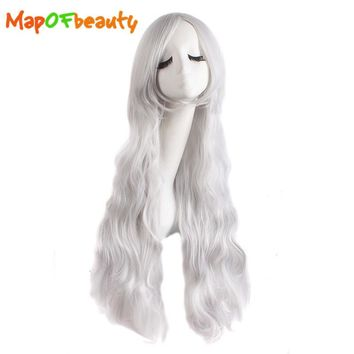MapofBeauty Long Curly cosplay wigs 80cm blue Light blonde Silver 13 colors Heat Resistant Synthetic hair