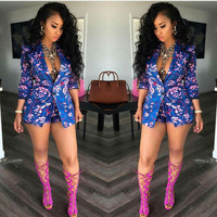 Women Floral Jacket 2016 New fashion Women Jacket Ladies Stylish Floral Printed single button Casual Slim Suit Coat Outwear
