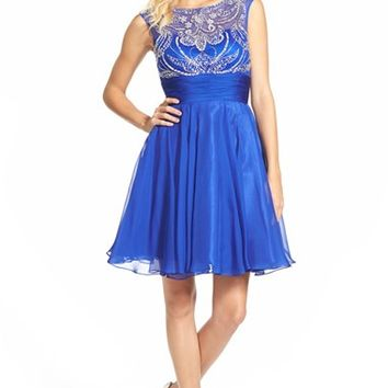 Junior Women's Mac Duggal Embellished Skater Dress,