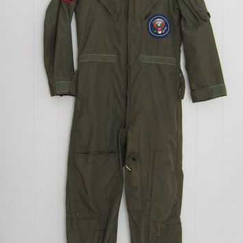 Vintage Mens US Military Flight Suit Jump Coveralls Mechanic Garage Flyers 36 S