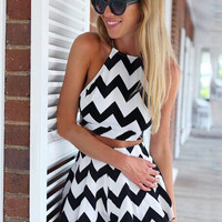 Black and White Striped Halter Backless Cropped Top Pleated Mini Skirt Set