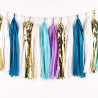 Teal Lavender Shimmer Tassel Garland  - Purple, Aqua, Gold Tissue Paper Tassel Garland - Party Decoration // Wedding Decor // Birthday Party