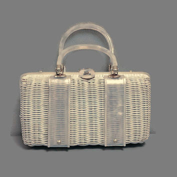 1960s Purse / Vintage White Wicker Box Purse, Basket Purse, with Lucite Trim and Handles, Rockabilly, Tropic of Miami