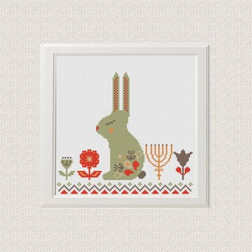 scandinavian Rabbit cross stitch pattern, bunny cross stitch pattern, Easter cross stitch Modern cross stitch pdf Instant Digital Download