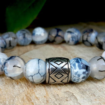 10 mm Gemstone Beaded Men Bracelet, Men's Silver Bracelet, Mens Jewellery, Silver Men Bracelet, Dragon Agate Bead, Protection Men Bracelet