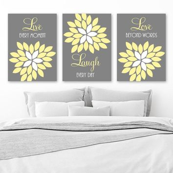 Live Laugh Love Wall Art, Yellow Gray Nursery Art, CANVAS or Print, Flower Love Quotes, Yellow Gray Bedroom Art, Bathroom Decor, Set of 3