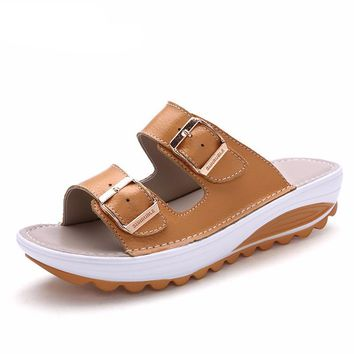 Buckle sandals leather shoes for woman