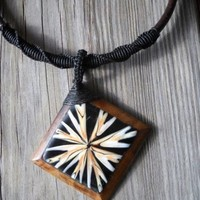 Handmade Wood,mother of Pearl,leather,wax String Necklace Length:45cm 70x70mm Square Wood,mother of Pearl Finding 8mm Wood Closure Bead Brand New
