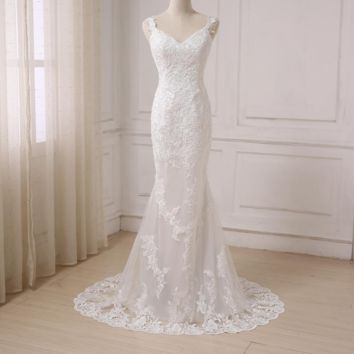 Sexy Mermaid Wedding Dress V-neck Open Back Fashion Lace White Ivory Bridal Gowns Sweep Train