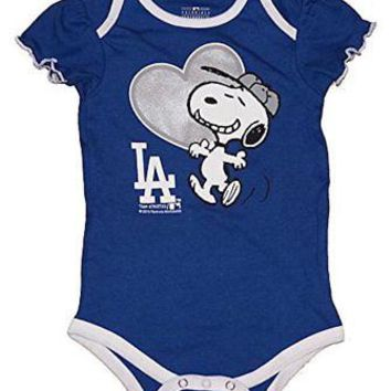 Los Angeles Dodgers Infant Girls Creeper Snoopy Peanuts Baby Romper MLB Apparel