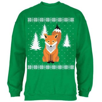 CREYCY8 Big Fox Ugly Christmas Sweater Irish Green Adult Sweatshirt