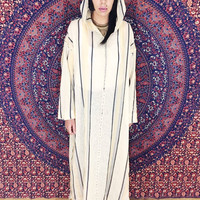 Vintage 70s Moroccan Sheer Cream w/ Black Striped Unisex Hooded Kaftan Oversized One Size Fits Most