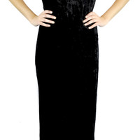 Black Crush Velvet Spaghetti Strap Long Maxi Dress